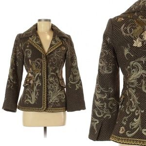 BIYA JOHNNY WAS embroidered blazer jacket wool s